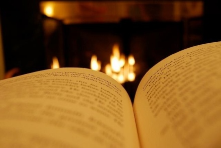 Curled up with a good book next to the fireplace. Yes and thank you.