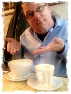 """My """"little"""" cappuccino compared to his oversized bowl."""